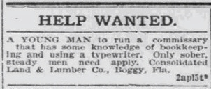 Boggy Help Wanted Ad
