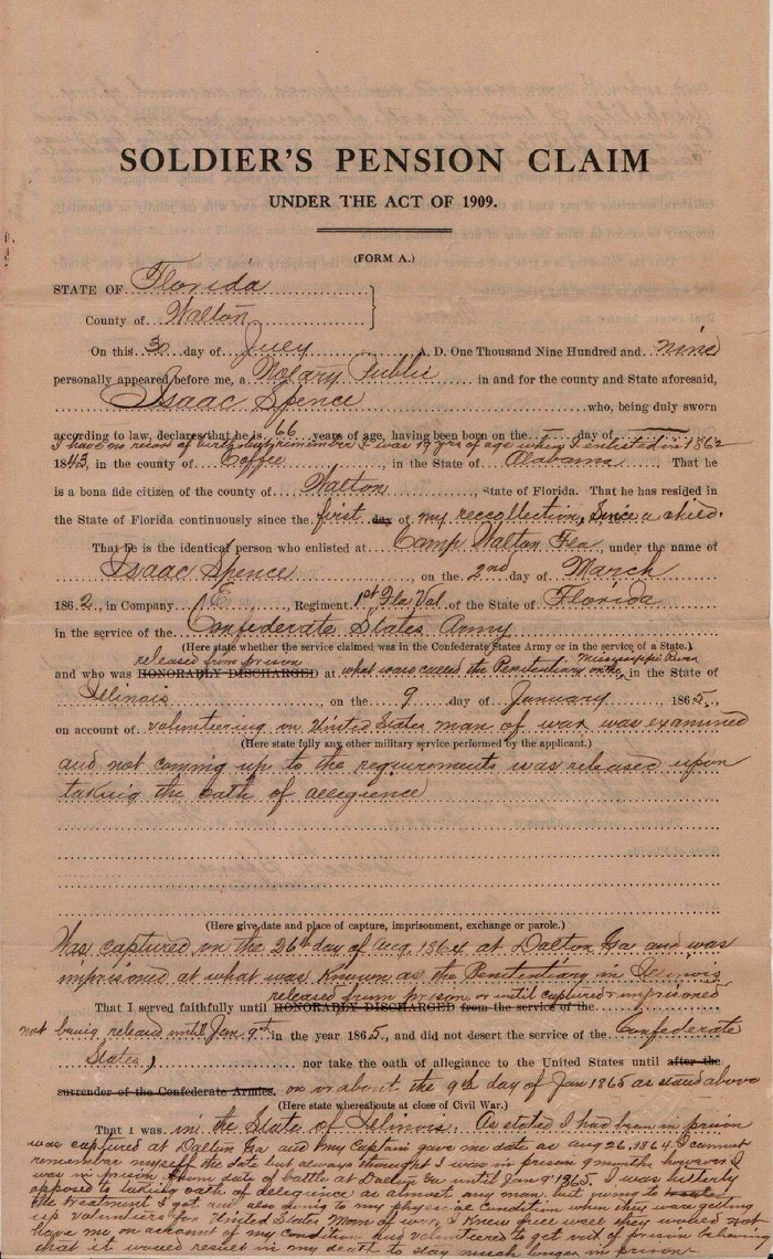 Isaac Spence Civil War pension application