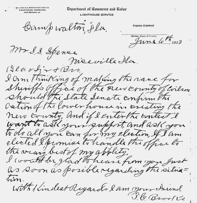 Brooks Letter to S. S.Spence