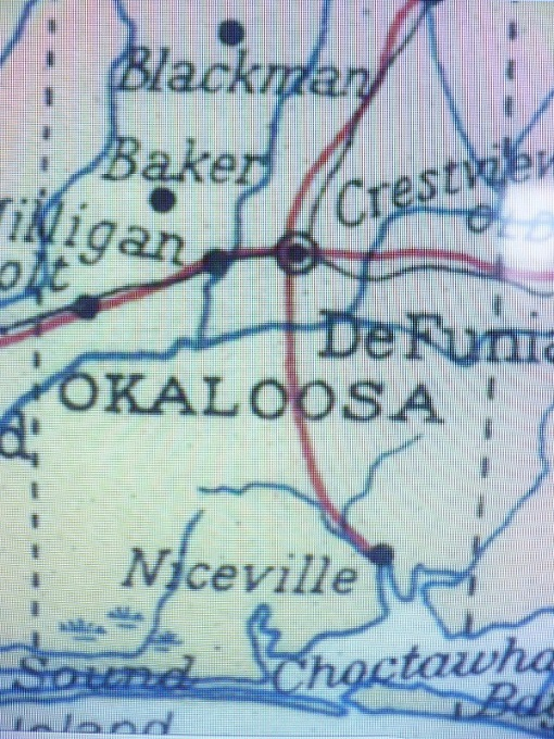 Okaloosa County Map showing Niceville and not VP